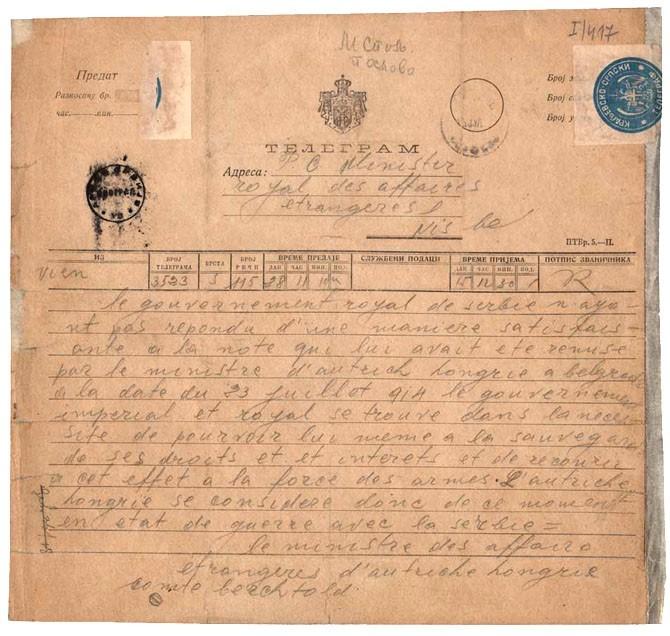Prvi svetski rat telegram
